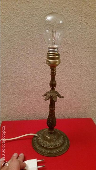 LAMPARA VINTAGE RETRO LATON DE MESITA MESA FUNCIONANDO DECORADA DECORACION METAL (Vintage - Lámparas, Apliques, Candelabros y Faroles)
