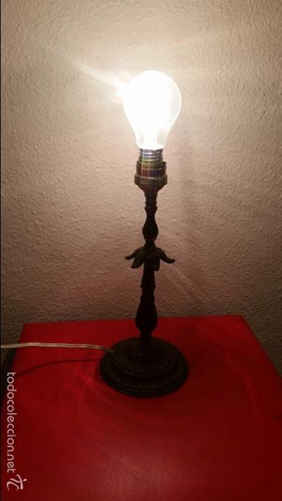Vintage: LAMPARA VINTAGE RETRO LATON DE MESITA MESA FUNCIONANDO DECORADA DECORACION METAL - Foto 3 - 58160979