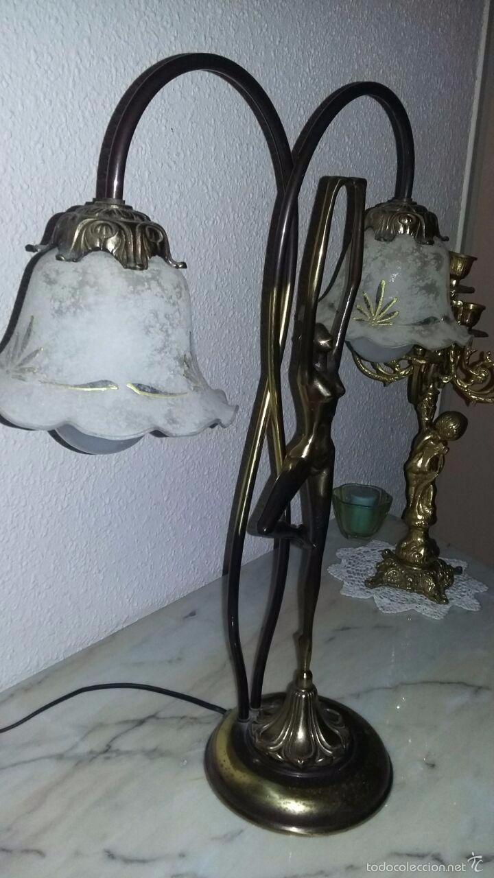Vintage: LAMPARA ART DECÓ CRISTALES GRABADOS - Foto 2 - 58193346