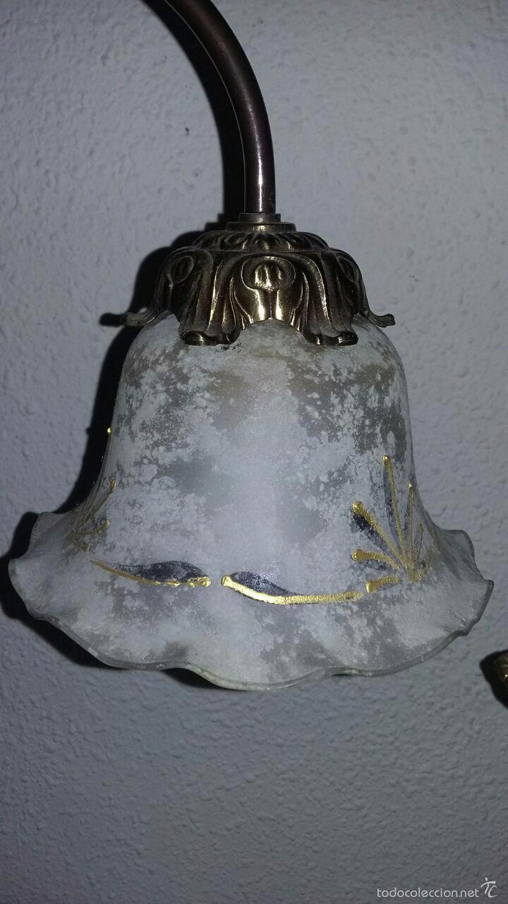 Vintage: LAMPARA ART DECÓ CRISTALES GRABADOS - Foto 4 - 58193346
