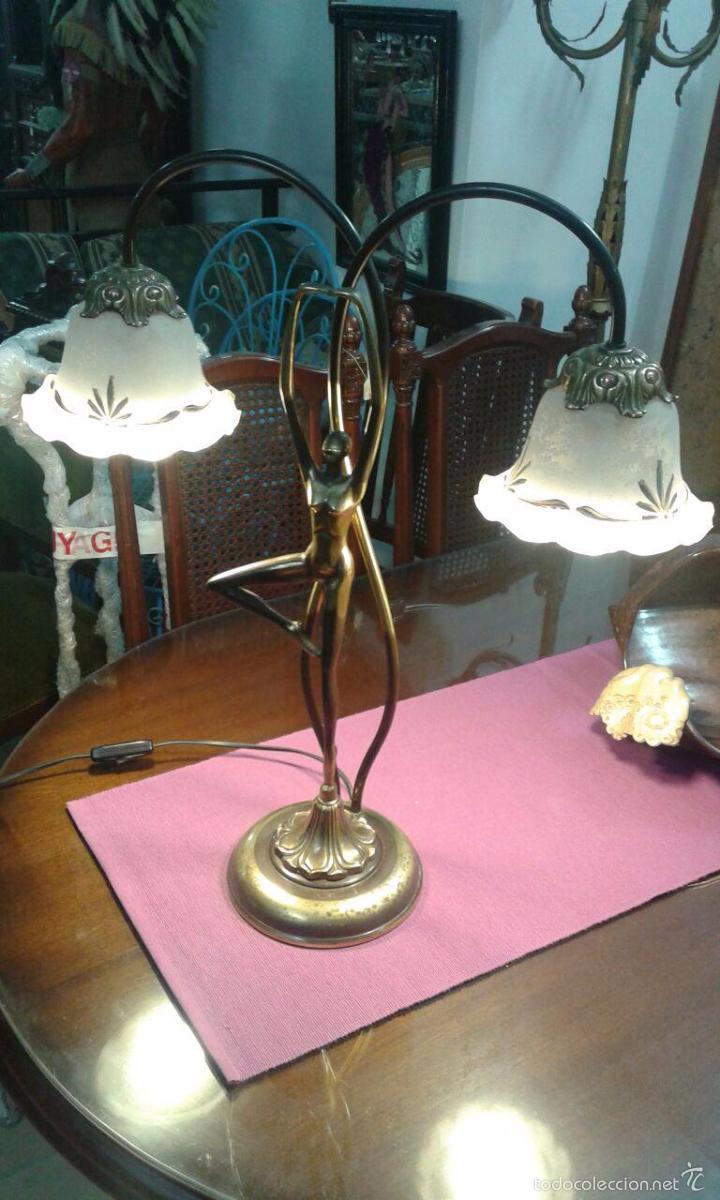 Vintage: LAMPARA ART DECÓ CRISTALES GRABADOS - Foto 7 - 58193346