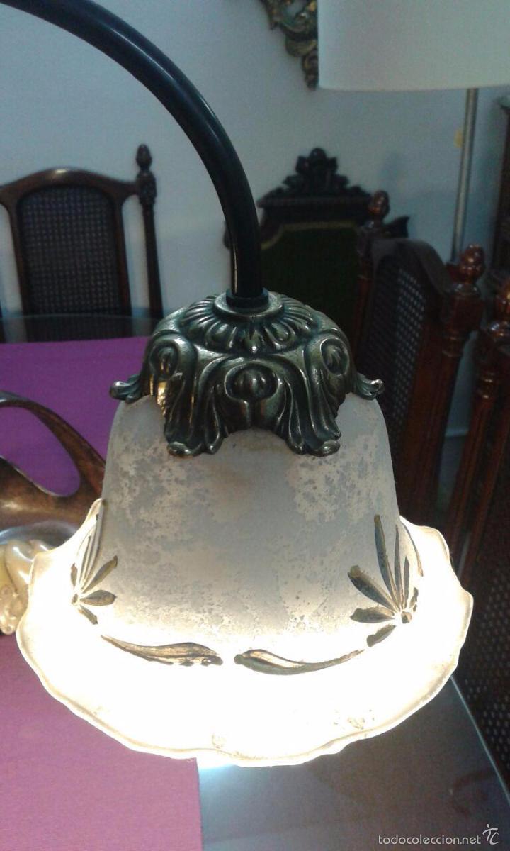Vintage: LAMPARA ART DECÓ CRISTALES GRABADOS - Foto 8 - 58193346