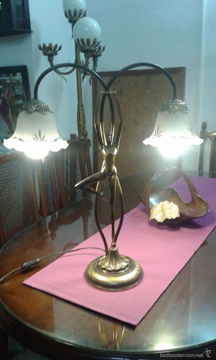 Vintage: LAMPARA ART DECÓ CRISTALES GRABADOS - Foto 12 - 58193346