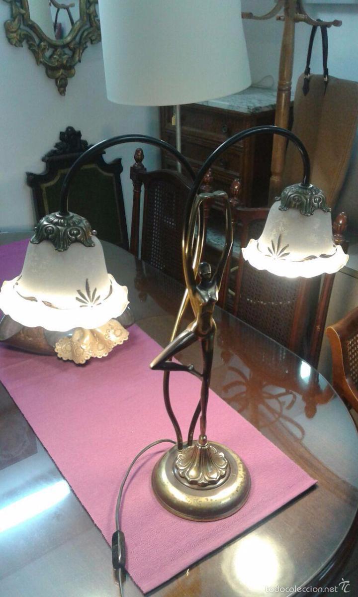 Vintage: LAMPARA ART DECÓ CRISTALES GRABADOS - Foto 14 - 58193346