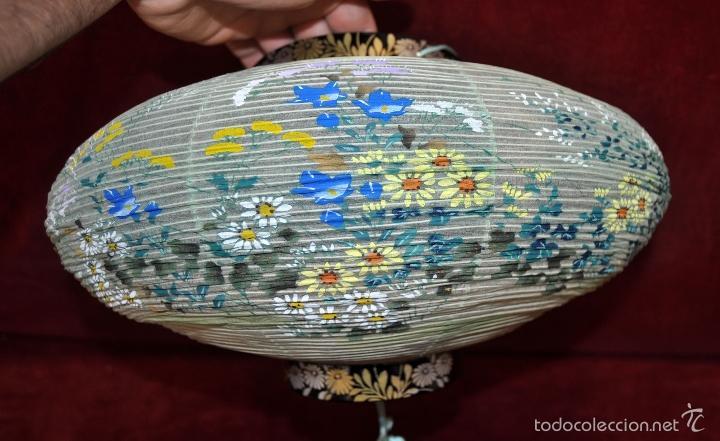 Vintage: BONITA LAMPARA DE PAPEL JAPONESA PINTADA A MANO - Foto 13 - 58275552