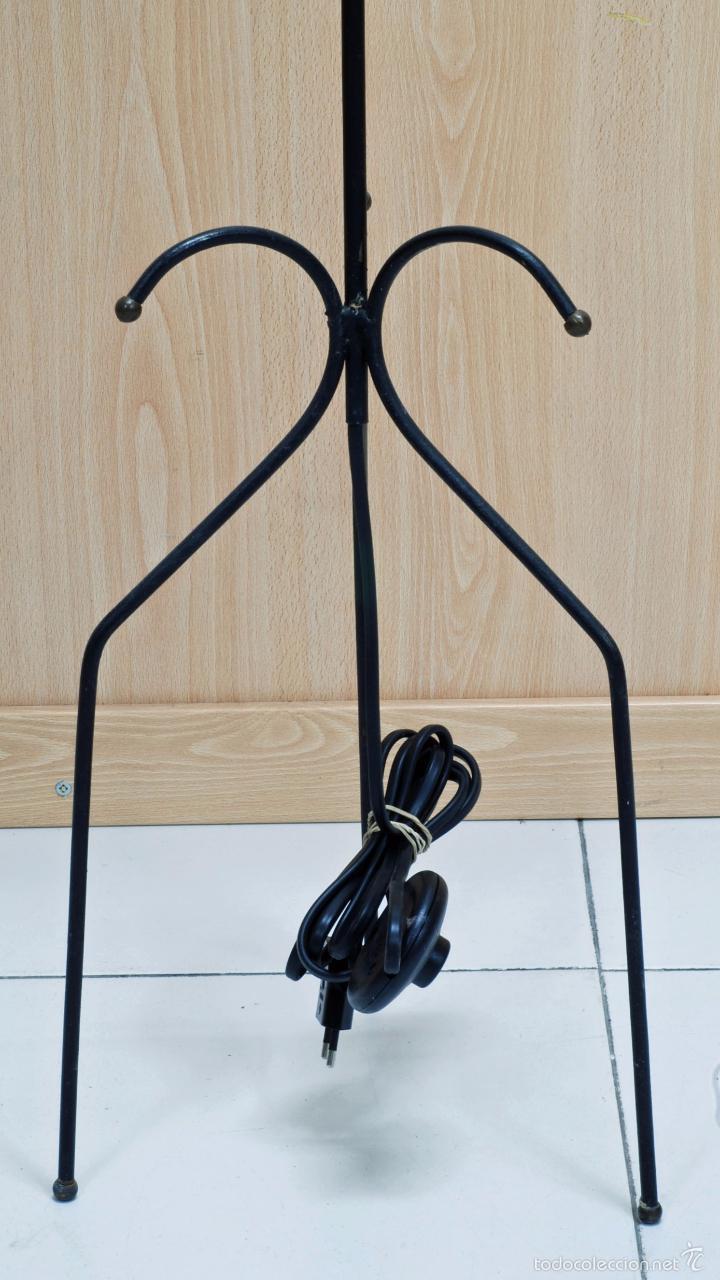 Vintage: Lámpara pie hierro pantalla seda plisada años 50 cableado nuevo Funciona - Foto 2 - 58294873