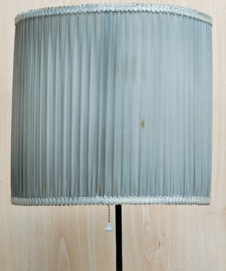 Vintage: Lámpara pie hierro pantalla seda plisada años 50 cableado nuevo Funciona - Foto 4 - 58294873