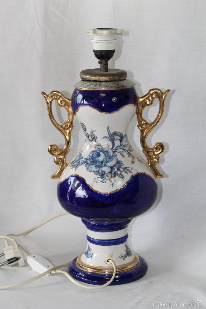 PIE DE LAMPARA EN CERAMICA (Vintage - Lámparas, Apliques, Candelabros y Faroles)