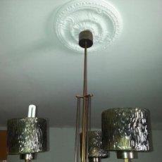 Vintage: VINTAGE LAMPARA ORIGINAL - FUNCIONANDO , 3 TULIPAS CRISTAL O VIDRIO AMBAR. Lote 127239364