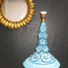 Vintage: RARÍSIMA LAMPARA XXL ANTIGUA CERAMICA MANISES AZUL FLORES SOBRE COPA MEDICI LES ARTS. Lote 58681113