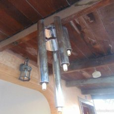 Vintage: LAMPARA DE TECHO TUBULAR CROMADA NIQUELADA 5 LUCES A DIFERENTES ALTURAS. Lote 58689090