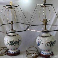 Vintage: PAREJA DE LAMPARAS DE SOBREMESA THE LAMP OF THE CELESTIAL LEGENDS - FINE PORCELAIN. Lote 234426655