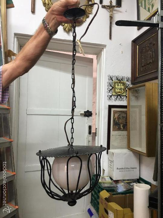 LAMPARA DE METAL VINTAGE CON TULIPA DE OPALINA - MEDIDA LARGO 65 CM (Vintage - Lámparas, Apliques, Candelabros y Faroles)