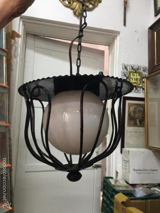 Vintage: LAMPARA DE METAL VINTAGE CON TULIPA DE OPALINA - MEDIDA LARGO 65 CM - Foto 2 - 140964660