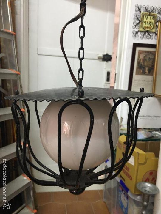 Vintage: LAMPARA DE METAL VINTAGE CON TULIPA DE OPALINA - MEDIDA LARGO 65 CM - Foto 6 - 140964660