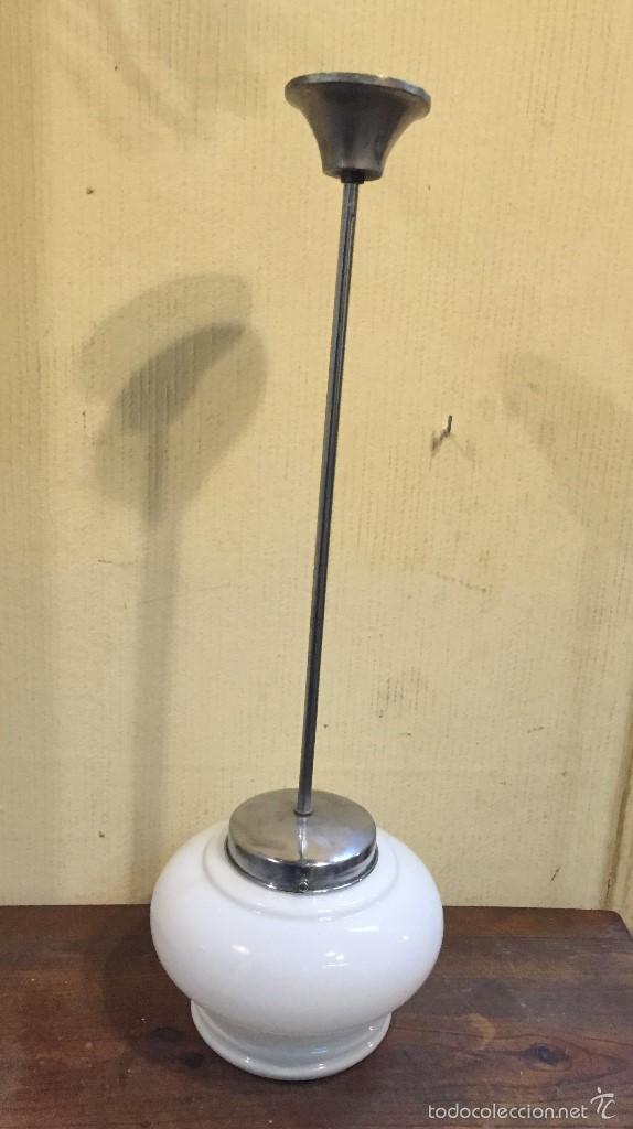 LÁMPARA TECHO TULIPA CRISTAL BLANCA (Vintage - Lámparas, Apliques, Candelabros y Faroles)