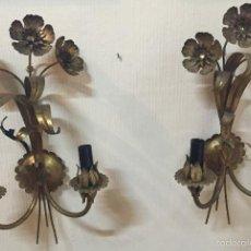 Vintage: APLIQUES PARED FORMA DE FLOR DORADOS. Lote 60866907