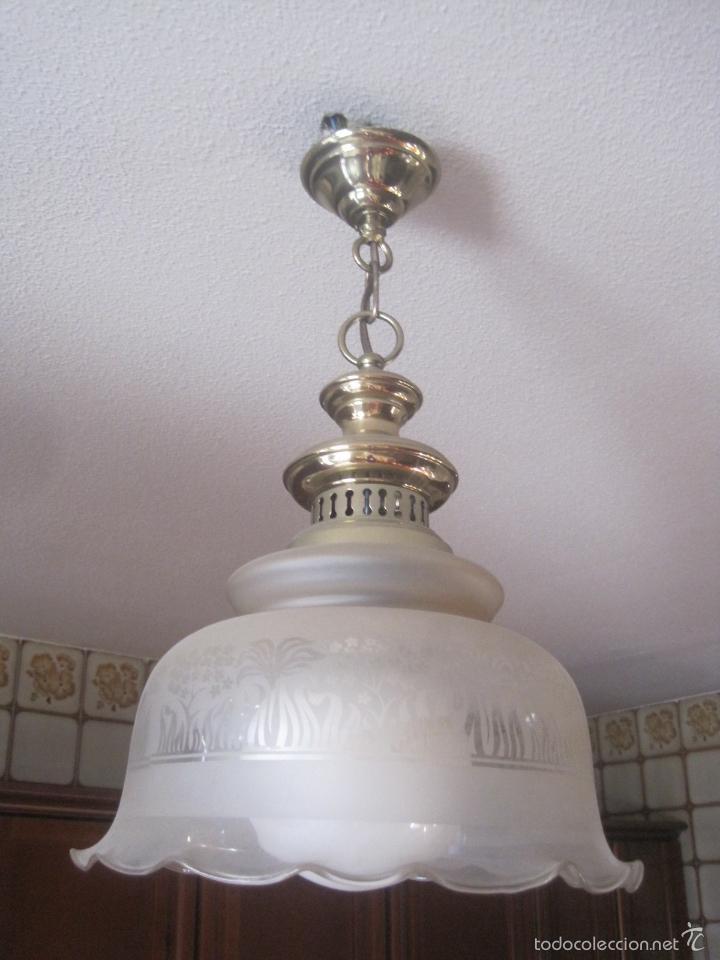 Vintage: LAMPARA TECHO BRONCE Y TULIPA CRISTAL VINTAGE-- 50 cm altura--30 diámetro - Foto 3 - 61256455