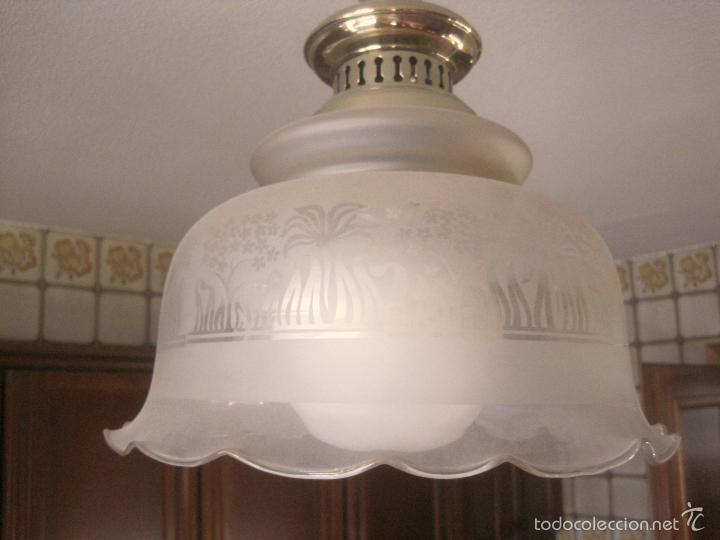Vintage: LAMPARA TECHO BRONCE Y TULIPA CRISTAL VINTAGE-- 50 cm altura--30 diámetro - Foto 7 - 61256455