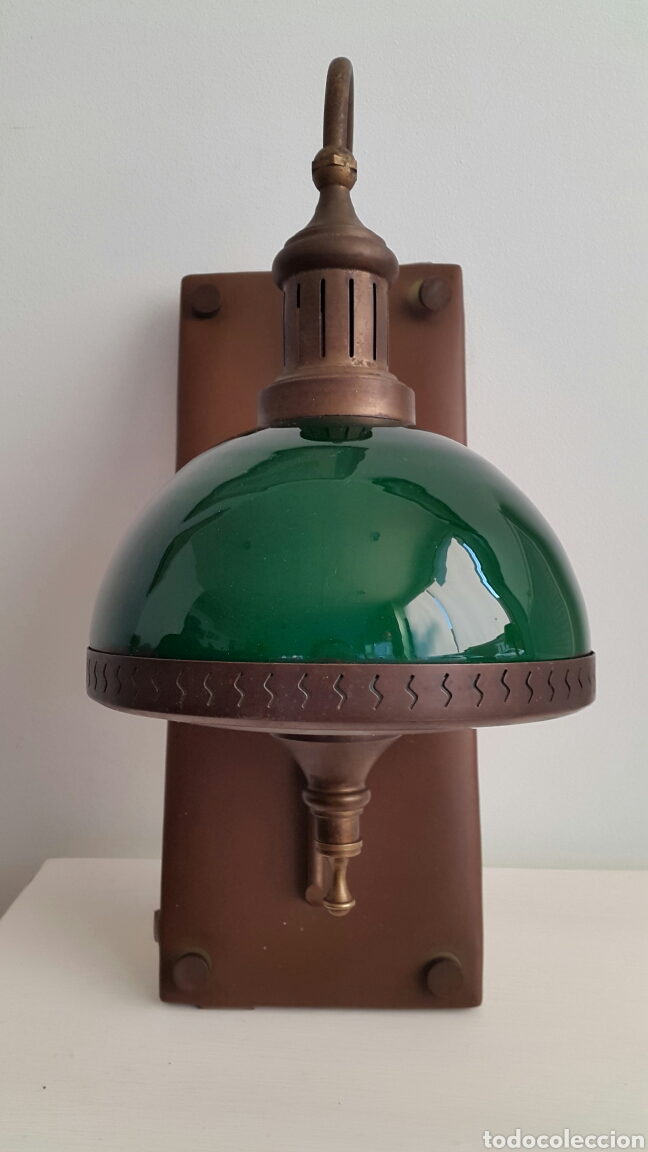 Vintage: PAREJA DE LAMPARAS APLIQUES QUINQUE OPALINA VERDE - Foto 2 - 62286506