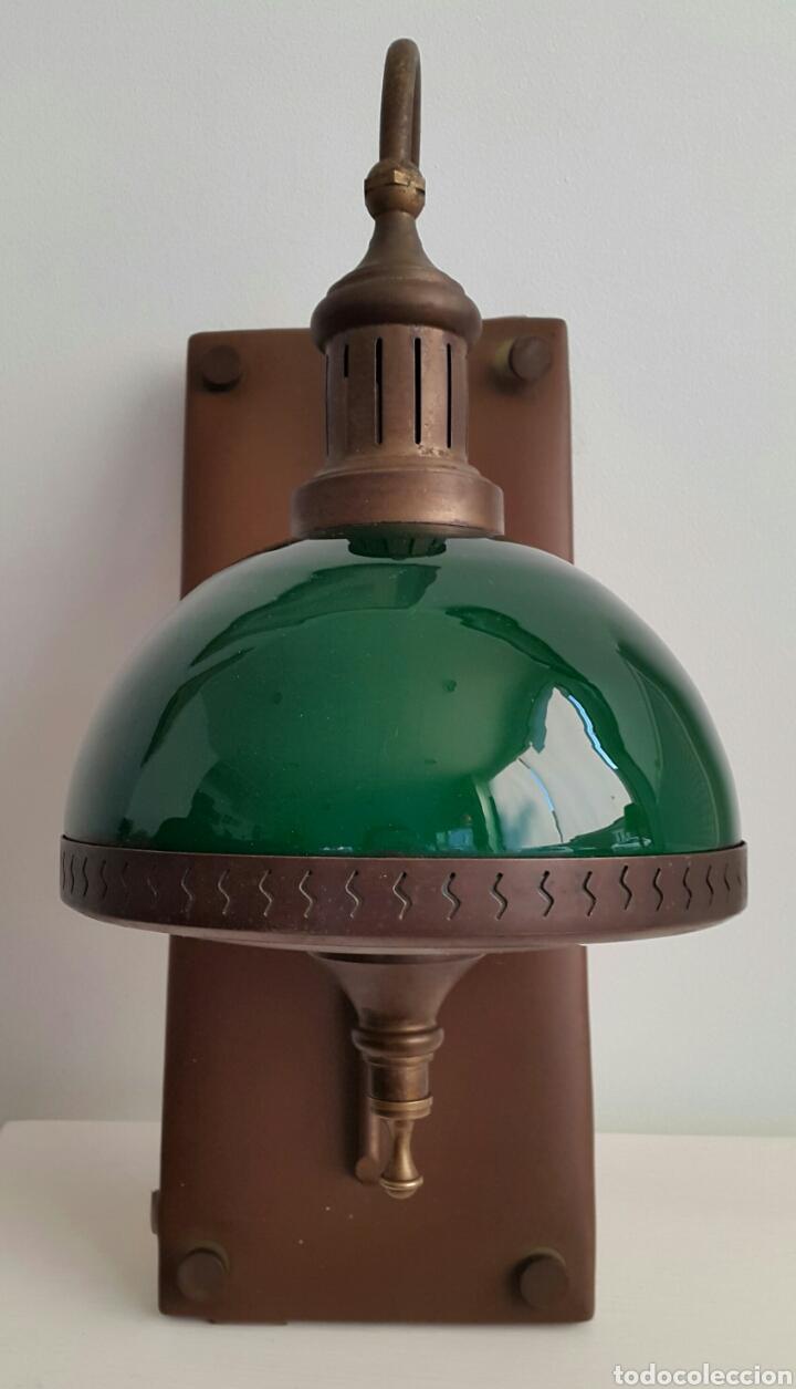Vintage: PAREJA DE LAMPARAS APLIQUES QUINQUE OPALINA VERDE - Foto 3 - 62286506