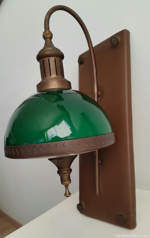 Vintage: PAREJA DE LAMPARAS APLIQUES QUINQUE OPALINA VERDE - Foto 4 - 62286506