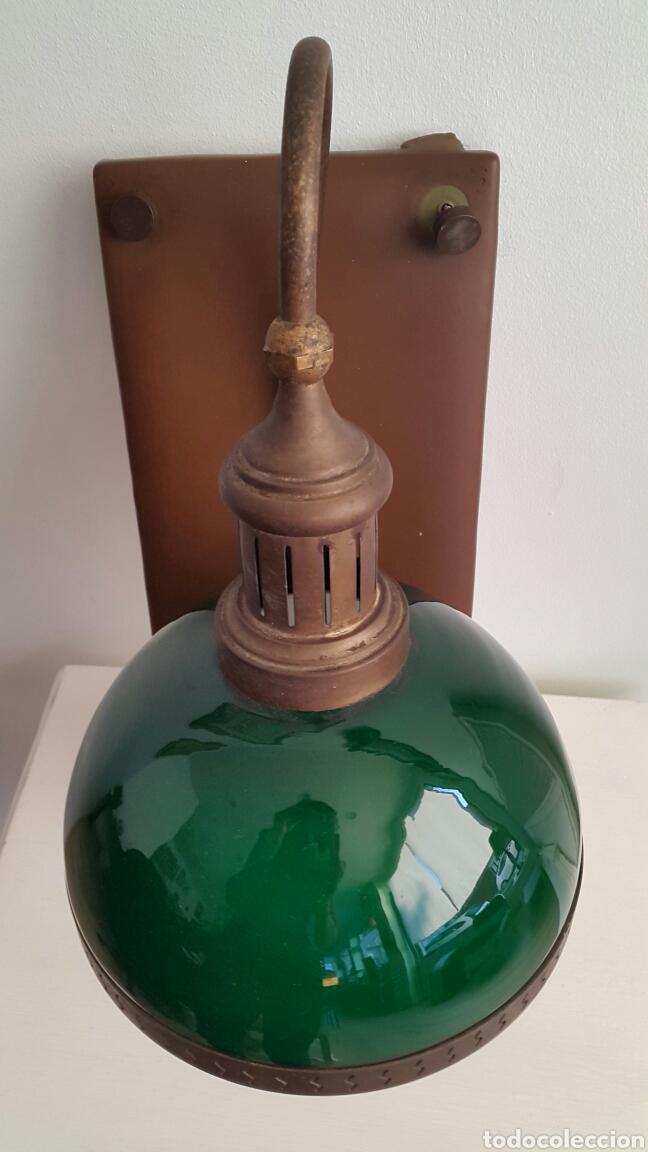 Vintage: PAREJA DE LAMPARAS APLIQUES QUINQUE OPALINA VERDE - Foto 5 - 62286506