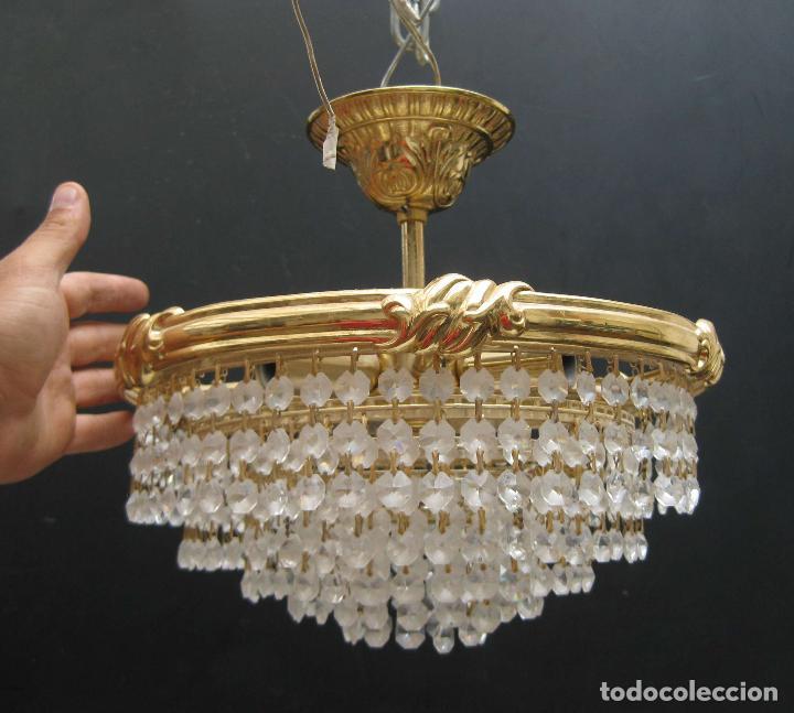 Lampara vintage metal dorado y cristal de ara a comprar l mparas vintage apliques - Lamparas de arana de cristal ...