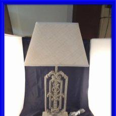 Vintage: DECORATIVA LAMPARA PANTALLA DE MADERA PLANA CON TULIPA. Lote 63658043