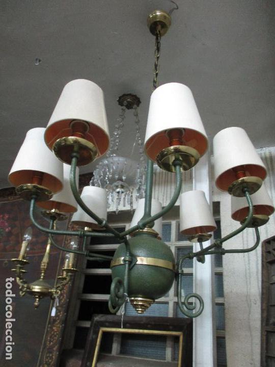 Lámpara de Techo - Estilo Holandes - 9 Luces - Bronce Pavonado - para  Comedor, salón, etc - Vintage