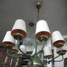 Vintage: LÁMPARA DE TECHO - ESTILO HOLANDES - 9 LUCES - BRONCE PAVONADO - PARA COMEDOR, SALÓN, ETC - VINTAGE. Lote 64037355