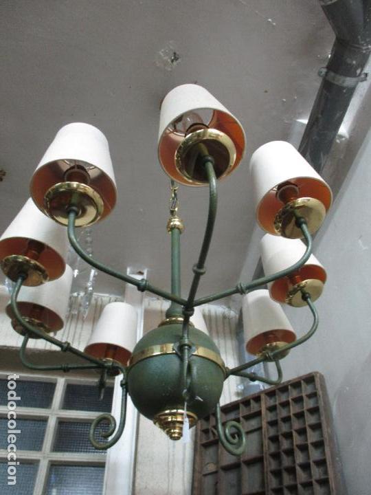 Vintage: Lámpara de Techo - Estilo Holandes - 9 Luces - Bronce Pavonado - para Comedor, salón, etc - Vintage - Foto 3 - 64037355