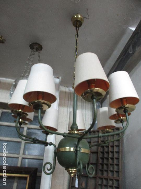 Vintage: Lámpara de Techo - Estilo Holandes - 9 Luces - Bronce Pavonado - para Comedor, salón, etc - Vintage - Foto 4 - 64037355