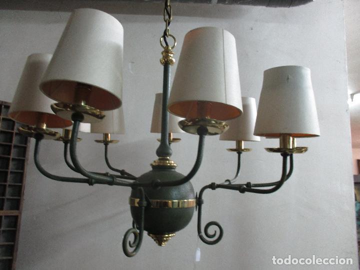 Vintage: Lámpara de Techo - Estilo Holandes - 9 Luces - Bronce Pavonado - para Comedor, salón, etc - Vintage - Foto 7 - 64037355