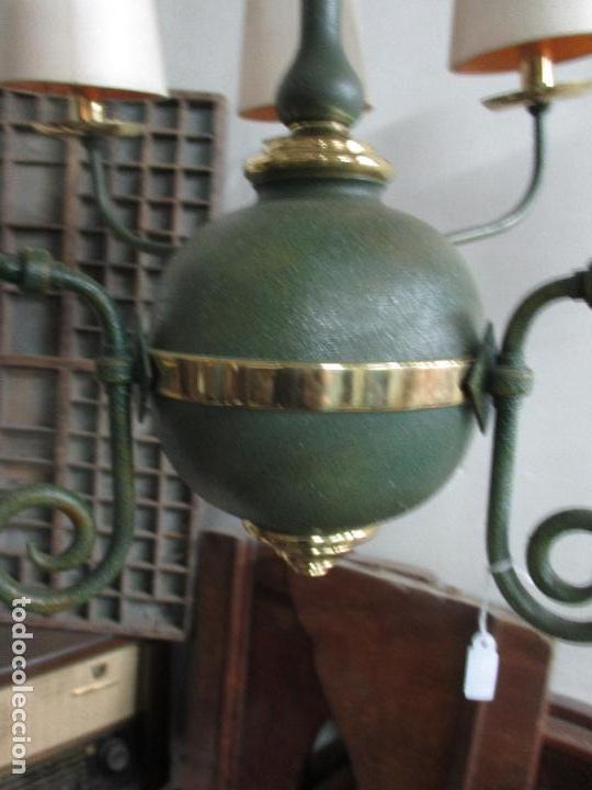 Vintage: Lámpara de Techo - Estilo Holandes - 9 Luces - Bronce Pavonado - para Comedor, salón, etc - Vintage - Foto 8 - 64037355