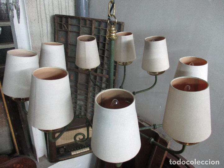 Vintage: Lámpara de Techo - Estilo Holandes - 9 Luces - Bronce Pavonado - para Comedor, salón, etc - Vintage - Foto 12 - 64037355