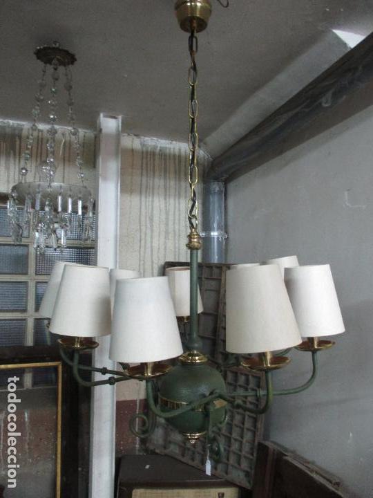 Vintage: Lámpara de Techo - Estilo Holandes - 9 Luces - Bronce Pavonado - para Comedor, salón, etc - Vintage - Foto 14 - 64037355