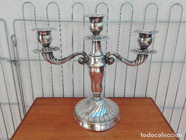 CANDELABRO METAL PLATEADO 3 BRAZOS VELAS VINTAGE (Vintage - Lámparas, Apliques, Candelabros y Faroles)