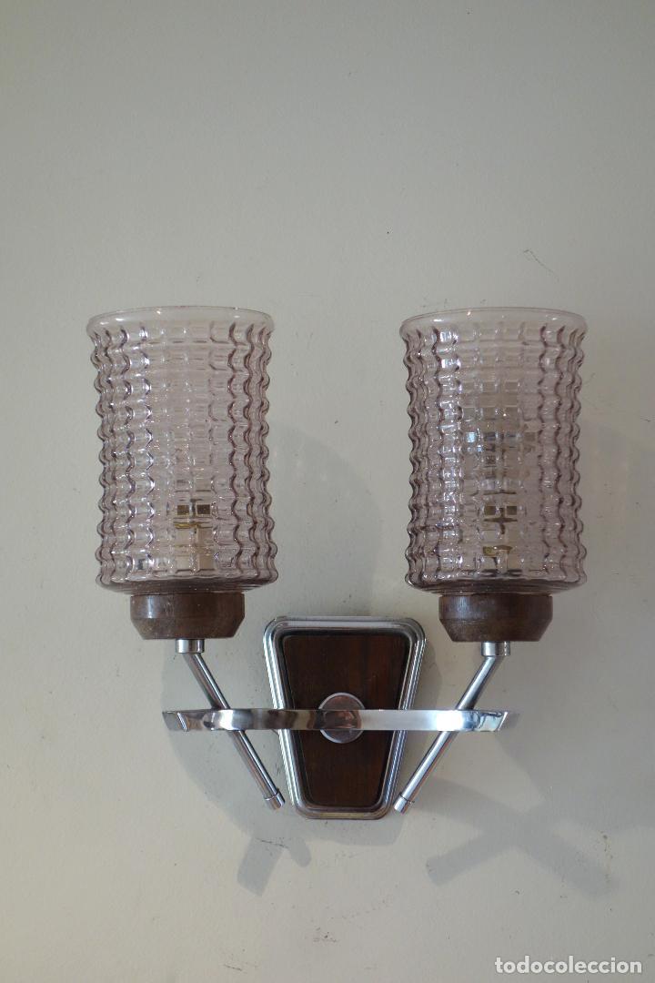 Vintage: Pareja apliques vintage años 60 Francia mid century metal cromado y cristal aplique lámpara lámparas - Foto 2 - 64089291
