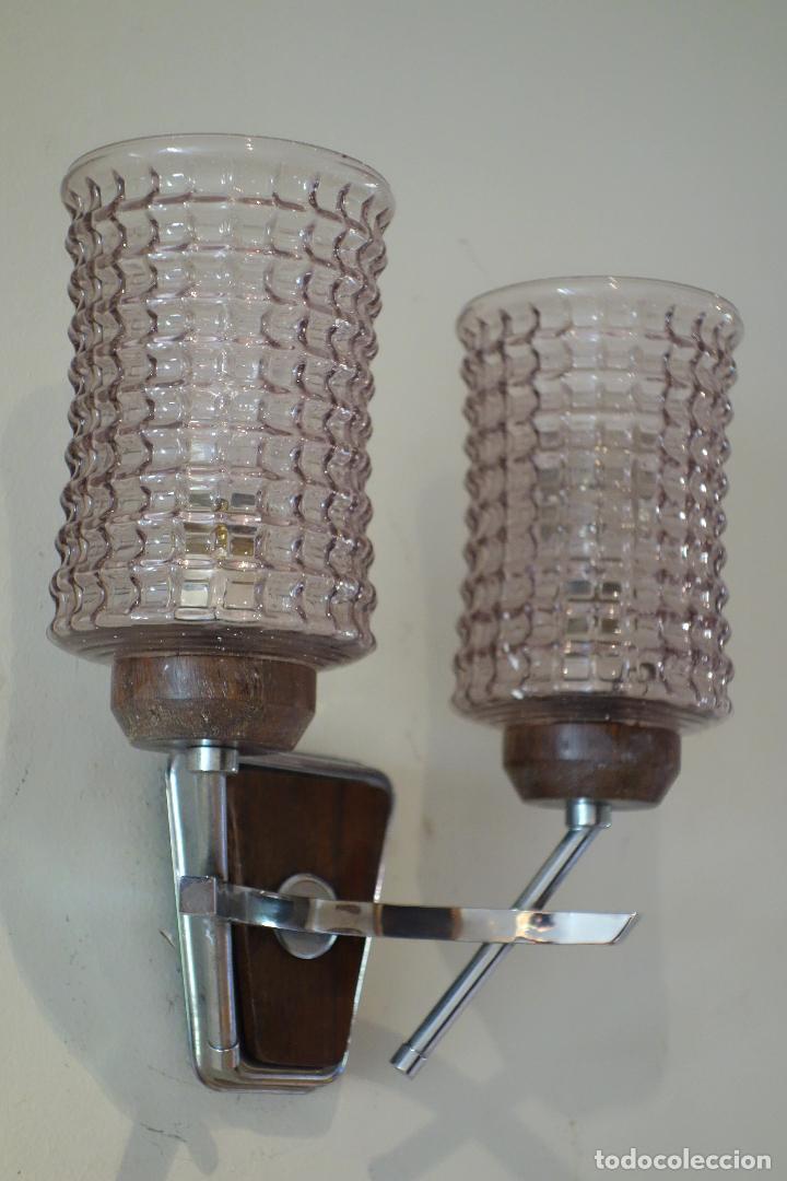 Vintage: Pareja apliques vintage años 60 Francia mid century metal cromado y cristal aplique lámpara lámparas - Foto 3 - 64089291