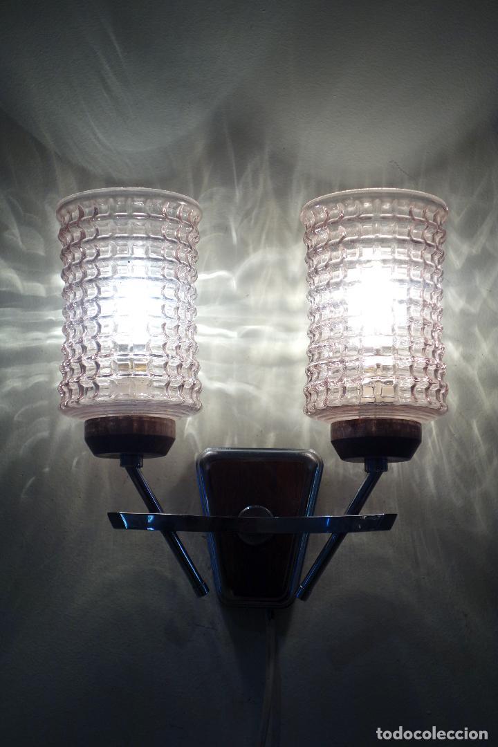 Vintage: Pareja apliques vintage años 60 Francia mid century metal cromado y cristal aplique lámpara lámparas - Foto 4 - 64089291