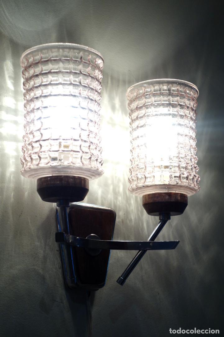 Vintage: Pareja apliques vintage años 60 Francia mid century metal cromado y cristal aplique lámpara lámparas - Foto 5 - 64089291