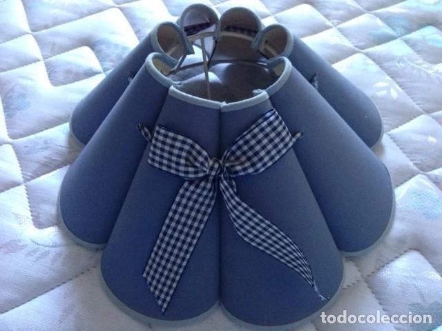 Vintage: lámpara de mesa de madera pintada en azul con pantalla lobulada - Foto 2 - 64102327