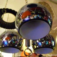 Vintage: LAMPARA TECHO METAL AÑOS 70 VINTAGE-3 CAMPANAS CROMO. Lote 64861739