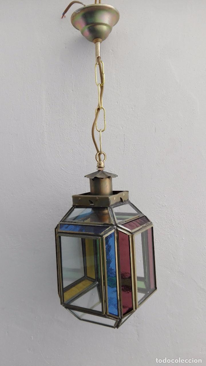 antigua lampara o farol arabe cristal estilo granadino forma feomtrica latn y cristal colores