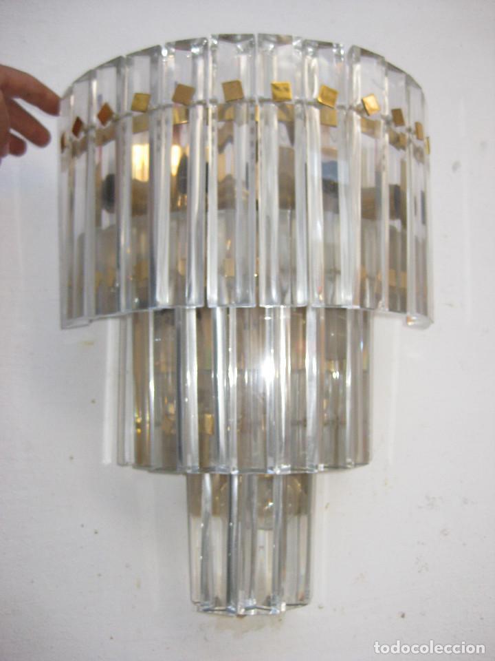 Vintage: BESTIAL LAMPARA VINTAGE APLIQUE ANTIGUA DE PARED CASCADA CRISTAL 3 PISOS MURANO VENINI 7 LUCES!!! - Foto 2 - 131762509