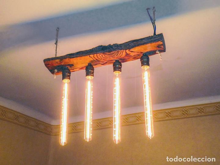 Lampara de techo rustica de tronco de madera y comprar - Lampara de techo de madera ...