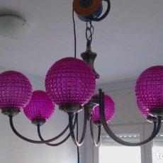 Vintage: PRECIOSA LAMPARA DE 6 BRAZOS CON LOS GLOBOS DE COLOR ROSA. Lote 67004510