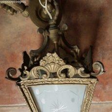 Vintage: FAROL BRONCE Y CRISTAL. Lote 67328343