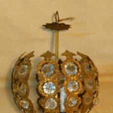 Vintage: BONITA Y ANTIGUA LAMPARA DE METAL Y CRISTAL. Lote 67706470